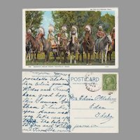 Vintage Oregon Trail Souvenir Postcard with Bannock Indians, Pocatello Idaho