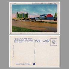 Vintage Souvenir Postcard - 1933 Century of Progress Travel and Transport Building