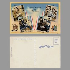 Vintage Postcard with Indoor Military Activites of Soldiers at Camp