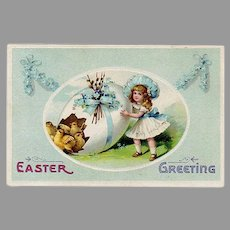 Vintage Easter Postcard with Little Girl, Decorated Egg and Baby Chicks