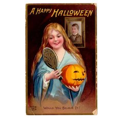 Vintage German Halloween Postcard with Woman and Jack-O-Lantern Pumpkin