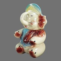 Vintage Cookie Jar - Colorful American Bisque Pottery 1950's Baby Elephant