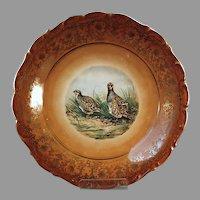 Vintage Porcelain Bird Plate - Quail Charger, Schumann, Bavaria Germany