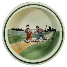 Vintage 1920's Baby Bowl Dish with Dutch Boys - Georg Schmider Baden Germany
