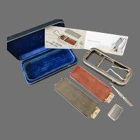 Vintage Rolls Razor and Blade Sharpener Kit - Sheffield Steel Velvet Lined Case