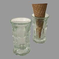 Vintage Ice Cream Cone Soda Fountain Glasses - Set of Two