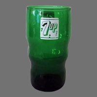Vintage Green Glass Seven-up Advertising Soda Fountain Glass – 7-Up
