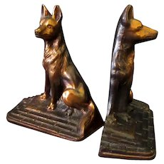 Vintage Cast Iron Dog Bookends – German Shepherds with Copper/Bronze Finish
