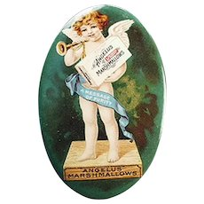 Vintage Celluloid Pocket Mirror Advertising Angelus Marshmallows with Colorful Cherub