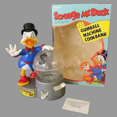 Vintage Scrooge McDuck Gumball Machine Coin Bank with Original Box