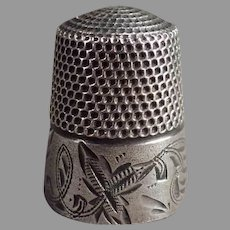 Vintage Sterling Silver Sewing Thimble - Early 1900's Stern Brothers with Leaf Design
