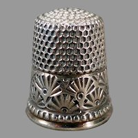Vintage Sterling Silver Ketcham & McDougall Sewing Thimble Size 10 – Deco Fan Design
