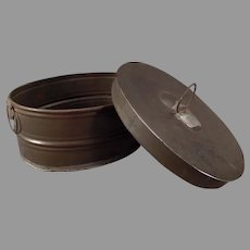 Vintage Tin Ware – Small, Oval Miniature Boiler Metal Container with Lid