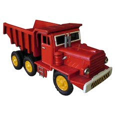 Colorful Vintage Japanese Tin Dump Truck with Raising Dump Bed