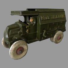 "Vintage Hubley Cast Iron Bell Telephone Truck - Large 10"" Size, Original"