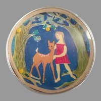 Vintage Dexterity Puzzle Mirror with Little Girl and Deer - Western Germany
