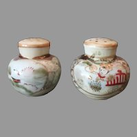 Vintage Salt & Pepper Set - Hand Painted S&P with Oriental Decorations and Gold