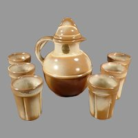 Vintage Frankoma Pottery Juice Set - Guernsey Jug Pitcher with Six Matching Cups