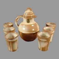 Vintage Frankoma Pottery Juice Set - Guernsey Jug Pitcher with Six Matching Cups