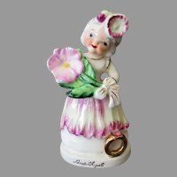 Vintage Porcelain Amethyst Birthday Girl for February with Flower and Birthstone
