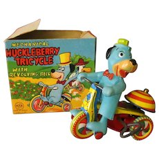 Vintage Wind Up Celluloid Huckleberry Hound on Tin Tricycle with Original Box - Linemar