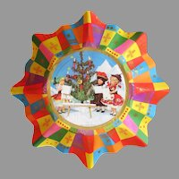 Vintage Paper Christmas Bowl with Fluted Edge with Plastic/Celluloid Dolls in Ethnic Costumes