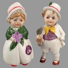 Vintage German Nodder Boy & Girl Dolls - Hand Painted Bisque