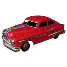 "Vintage Japanese Tin Friction Toy Car – 10"" Fat Pontiac - 1950's Original"