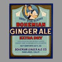 Vintage Paper Soda Bottle Label - Colorful Bohemian Ginger Ale
