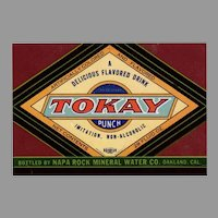 Vintage Paper Soda Bottle Label  - Colorful Tokay Punch - Oakland California