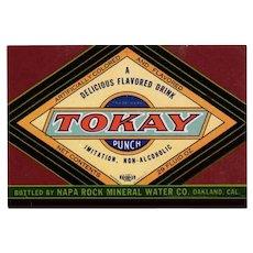 Vintage Paper Soda Bottle Label  - Colorful Tokay Punch - Oakland California