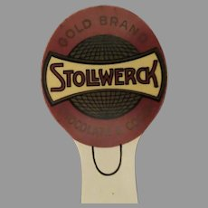 Vintage Celluloid Bookmark with Stollwerck Chocolate and Cocoa Advertising