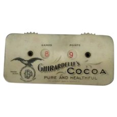 Vintage Celluloid Game Counter with Ghirardelli's Cocoa Advertising