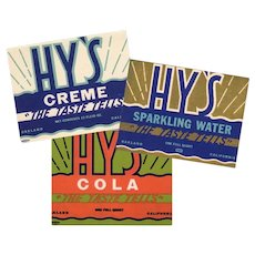 Three Vintage Soda Bottle Labels - 3 Different Hy's Designs - Colorful Old Advertising