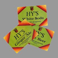 Three Vintage Soda Bottle Labels - Different Hy's Products including Root Beer