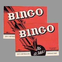 Two Vintage Soda Pop Bottle Labels -  Hy's Bingo Labels