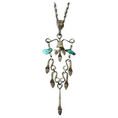 Vintage Horseshoe Nail and Turquoise Chandelier Pendant Necklace