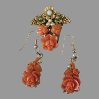 Vintage Costume Jewelry Pin and Earring Set - Faux Coral