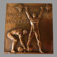 Vintage French Bronze Medallion – Poids et Halteres/Weights & Dumbbells