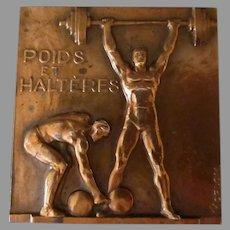 Vintage French Bronze Medallion – Poids et Halteres/Weights & Dumbbells