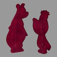 Two Vintage Cookie Cutters – Barney Bear and Droopy Dog - 1956
