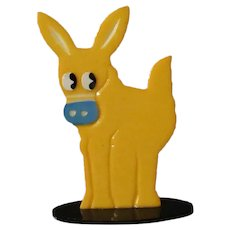 Vintage Celluloid Animal Place Card Holder – Colorful Donkey