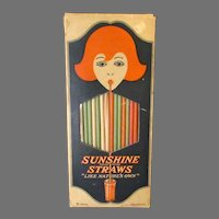 Vintage Colored Paper Sunshine Straws in Graphic Box