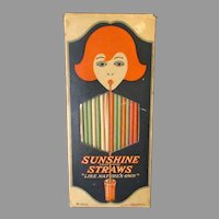 Vintage Colored Paper Sunshine Straws in Graphic Box