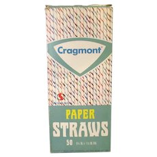 Vintage Paper Straws with Cragmont Soda Advertising and Straw Plane on Back