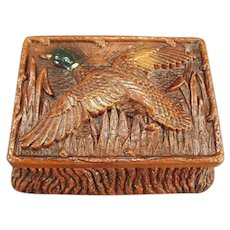 Vintage Syroco Trinket or Cigarette Box with Mallard in Flight on Lid - 1946