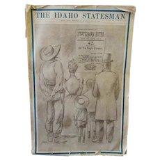 Vintage 1940 Idaho Statehood Golden Anniversary - Idaho Statesman Newspaper – Great Historic Memorabilia