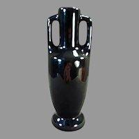 Vintage Frankoma Pottery - Glossy Black Glaze #20 Handled Bud Vase