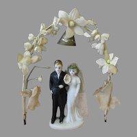 Vintage Wedding Cake Topper - Bride & Groom Under Flowered Arch