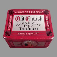 Vintage Old English Curve Cut Pipe Tobacco Tin - Nice Graphics
